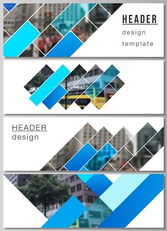 The minimalistic vector illustration of the editable layout of headers, banner design templates. Abstract geometric pattern creative modern blue background with rectangles Illustration