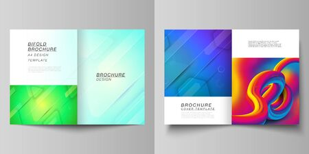 Vector layout of two A4 format modern cover mockups design templates for bifold brochure, magazine, flyer. Futuristic technology design, colorful backgrounds with fluid gradient shapes composition.