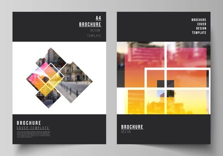 The vector layout of A4 format modern cover mockups design templates for brochure, magazine, flyer, booklet, annual report. Creative trendy style mockups, blue color trendy design backgrounds Illustration