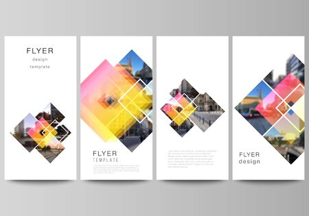 The minimalistic vector illustration of the editable layout of flyer, banner design templates. Creative trendy style mockups, blue color trendy design backgrounds