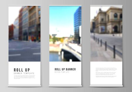 Vector layout of roll up mockup design templates for vertical flyers, flags design templates, banner stands, advertising design mockups. Halftone effect decoration with dots. Dotted pattern decoration.