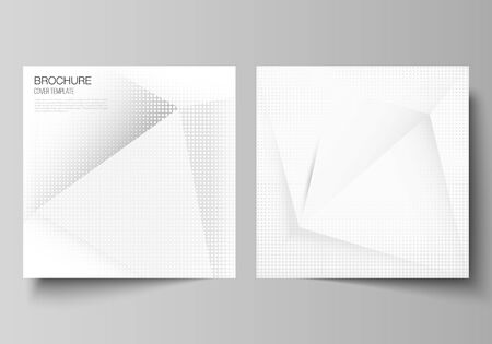 Vector layout of two square covers design templates for brochure, flyer, magazine, cover design, book design, brochure cover. Halftone dotted background with gray dots, abstract gradient background