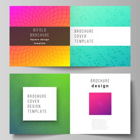 The vector illustration of editable layout of two covers templates for square design bifold brochure, magazine, flyer, booklet. Abstract geometric pattern with colorful gradient business background.