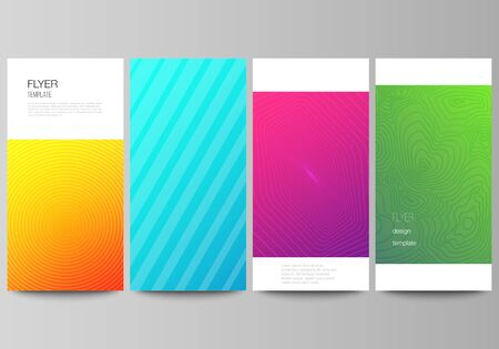 The minimalistic vector illustration of the editable layout of flyer, banner design templates. Abstract geometric pattern with colorful gradient business background