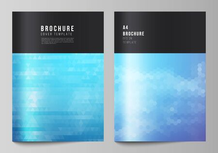 The vector layout of A4 format modern cover mockups design templates for brochure, magazine, flyer, booklet, annual report. Abstract geometric pattern with colorful gradient business background