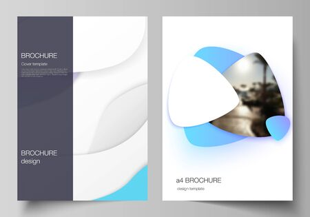 Vector layout of A4 format modern cover mockups design templates for brochure, magazine, flyer, booklet, annual report. Blue color gradient abstract dynamic shapes, colorful geometric template design Illustration