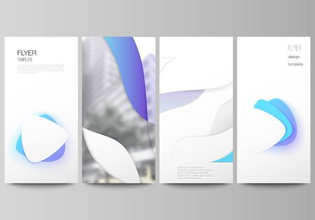 The minimalistic vector illustration of the editable layout of flyer, banner design templates. Blue color gradient abstract dynamic shapes, colorful geometric template design Illustration