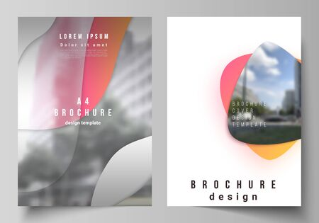 The vector layout of A4 format modern cover mockups design templates for brochure, magazine, flyer, booklet, report. Yellow color gradient abstract dynamic shapes, colorful geometric template design