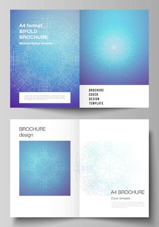 Vector layout of two A4 format modern cover mockups design templates for bifold brochure, flyer, booklet, report. Big Data Visualization, geometric communication background, connected lines and dots.