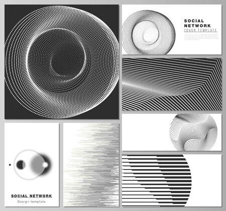 L'illustration vectorielle des mises en page modifiables des maquettes de réseaux sociaux modernes dans des formats populaires. Abstrait géométrique, concept futuriste de science et de technologie pour un design minimaliste