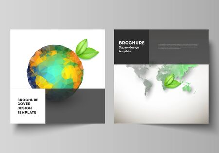 Vector layout of two square format covers design templates for brochure, flyer, cover design, book design, brochure cover. Save Earth planet concept. Sustainable development global business concept.