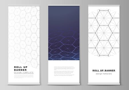 Vector layout of roll up banner stands, vertical flyers, flags design business templates. Digital technology and big data concept with hexagons, connecting dots and lines, science medical background.