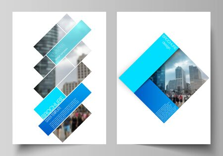 The vector layout of A4 format modern cover mockups design templates for brochure, magazine, flyer, booklet, annual report. Abstract geometric pattern creative modern blue background with rectangles Vetores