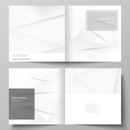 Vector layout of two covers templates for square design bifold brochure, magazine, cover design, book design, brochure cover. Halftone dotted background with gray dots, abstract gradient background. Vektoros illusztráció