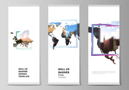 Vector layout of roll up mockup templates for vertical flyers, flags design templates, banner stands, advertising design. Design template in the form of world maps and colored frames, insert your photo