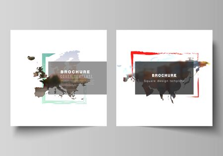 Vector layout of two square format covers templates for brochure, flyer, cover design, book design, brochure cover. Design template in the form of world maps and colored frames, insert your photo. Illustration