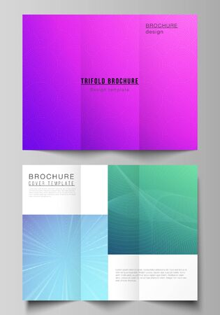The minimal vector illustration of editable layouts. Modern creative covers design templates for trifold brochure or flyer. Abstract geometric pattern with colorful gradient business background.