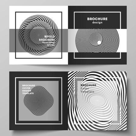 Il layout vettoriale di due modelli di copertine per brochure bifold dal design quadrato, riviste, volantini, opuscoli. Fondo geometrico astratto 3D con il modello di progettazione in bianco e nero di illusione ottica.