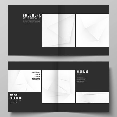 Vector layout of two covers templates for square design bifold brochure, flyer, cover design, book design, brochure cover. Halftone effect decoration with dots. Dotted pop art pattern decoration.