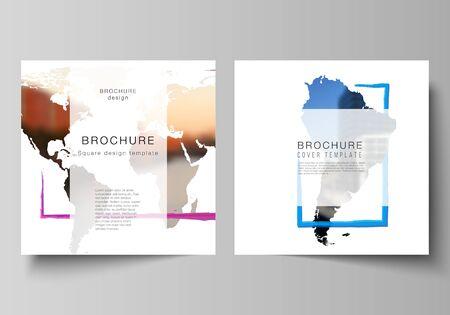 Diseño vectorial de dos plantillas de portadas de formato cuadrado para folleto, volante, diseño de portada, diseño de libro, portada de folleto. Plantilla de diseño en forma de mapas del mundo y marcos de colores, inserta tu foto. Ilustración de vector