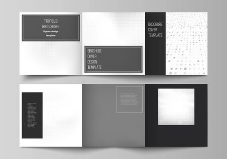 Vector layout of square covers design templates for trifold brochure, flyer, cover design, book design, brochure cover. Halftone effect decoration with dots. Dotted pattern for grunge style decoration. Ilustración de vector