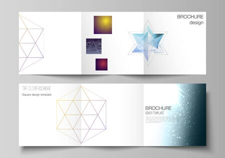 Vector layout of square format covers design templates for trifold brochure, flyer, magazine. 3d polygonal geometric modern design abstract background. Science or technology vector illustration