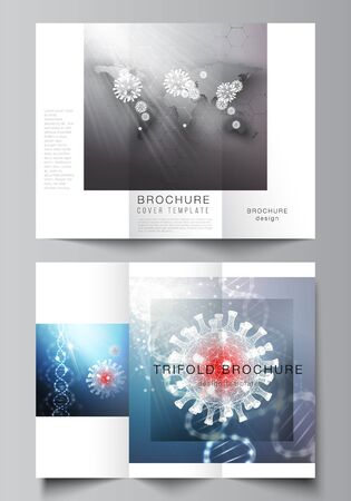 Vector layouts of covers design templates for trifold brochure, flyer layout, brochure cover, advertising mockups. 3d medical background of corona virus. Covid 19, coronavirus infection. Virus concept