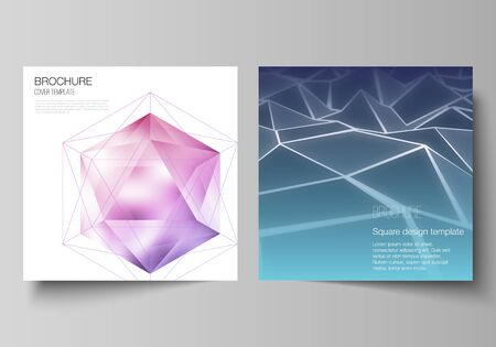 Minimal vector layout of two square format covers design templates for brochure, flyer, magazine. 3d polygonal geometric modern design abstract background. Science or technology vector illustration.