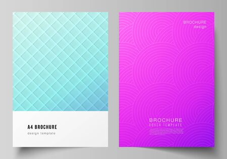 The vector layout of A4 format modern cover mockups design templates for brochure, magazine, flyer, booklet, annual report. Abstract geometric pattern with colorful gradient business background. Иллюстрация