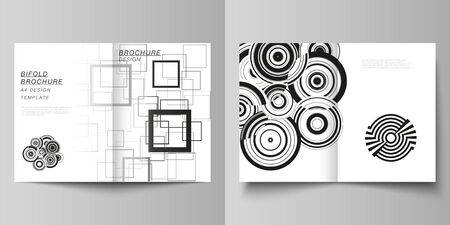 Vector layout of two A4 format modern cover mockups design templates for bifold brochure, flyer, booklet, report. Geometric abstract background in minimalistic flat style with dynamic composition.