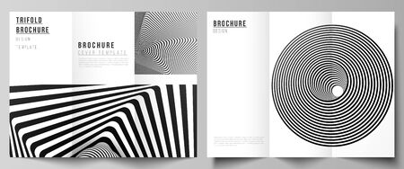 The minimal vector illustration layouts. Modern creative covers design templates for trifold brochure or flyer. Abstract 3D geometrical background with optical illusion black and white design pattern.