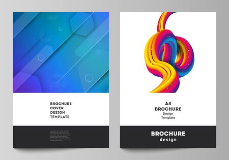 Vector layout of A4 format modern cover mockups design templates for brochure, magazine, flyer, booklet. Futuristic technology design, colorful backgrounds with fluid gradient shapes composition.