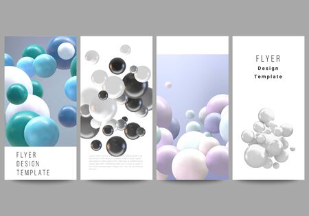 Vector layout of flyer, banner templates for website advertising design, vertical flyer design, website decoration backgrounds. Realistic vector background with multicolored 3d spheres, bubbles, balls