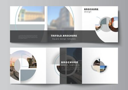Vector layout of square covers design templates for trifold brochure, flyer, cover design, book, brochure cover. Background with abstract circle round banners. Corporate business concept template.