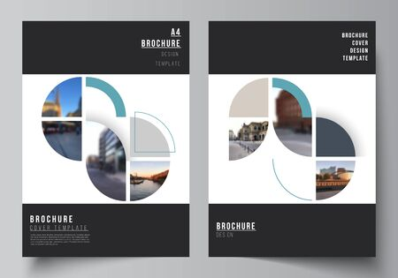 Vector layout of A4 cover mockups design templates for brochure, flyer layout, booklet, cover design, book, brochure cover. Background with circle round banners. Corporate business concept template.