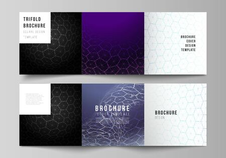Vector layout of square format covers design templates for trifold brochure. Digital technology and big data concept with hexagons, connecting dots and lines, polygonal science medical background. Иллюстрация