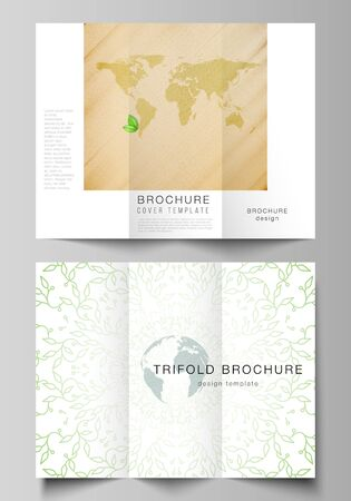 Vector layouts of covers design templates for trifold brochure, flyer layout, book design, brochure cover, advertising. Save Earth planet concept. Sustainable development global business concept.