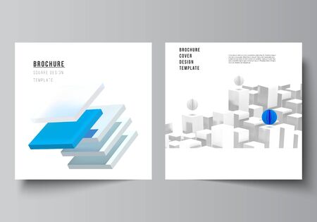 Vector layout of two square format covers templates for brochure, flyer, cover design, book design, brochure cover. 3d render vector composition with dynamic realistic geometric blue shapes in motion. Иллюстрация