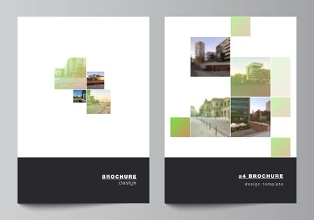 Vector layout of A4 cover mockups design templates for brochure, flyer layout, booklet, cover design, book design, brochure cover. Abstract project with clipping mask green squares for your photo.