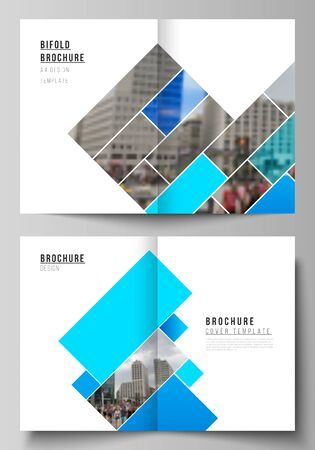 Vector layout of two A4 format modern cover mockups design templates for bifold brochure, magazine, flyer, booklet, report. Abstract geometric pattern creative modern blue background with rectangles. Иллюстрация
