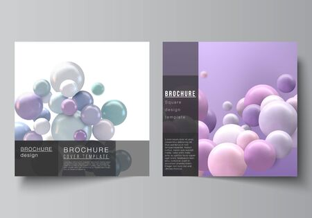 Vector layout of two square covers templates for brochure, flyer, cover design, book design, brochure cover. Abstract vector futuristic background with colorful 3d spheres, glossy bubbles, balls.