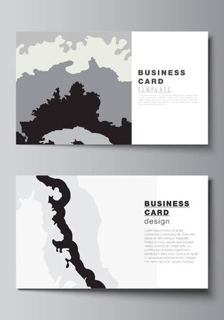 Vector layout of two creative business cards design templates, horizontal template vector design. Landscape background decoration, halftone pattern grunge texture