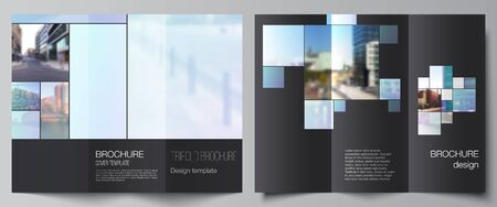 Vector layouts of covers design templates for trifold brochure, flyer layout, magazine, book design, brochure cover, advertising mockups. Abstract design project in geometric style with blue squares Vecteurs