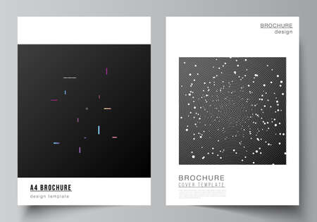 Vector layout of A4 format cover mockups design templates for brochure, flyer layout, booklet, cover design, book design, brochure cover. Tech science future background, space astronomy concept. Vector Illustration