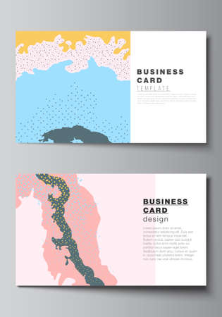 Vector layout of two creative business cards design templates, horizontal template vector design. Japanese pattern template. Landscape background decoration in Asian style.