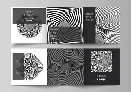 Minimal vector editable layout of square format covers design templates for trifold brochure, flyer, magazine. Abstract 3D geometrical background with optical illusion black and white design pattern. Vetores
