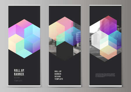 Vector layout of roll up mockup design templates with colorful hexagons, geometric shapes, tech background for vertical flyers, flags design templates, banner stands, advertising design mockups.