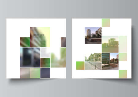 Vector layout of two square format covers design templates for brochure, flyer, magazine, cover design, book design, brochure cover. Abstract project with clipping mask green squares for your photo. Ilustração Vetorial