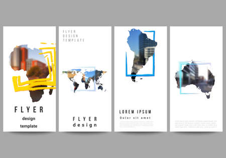 Vector layout of flyer, banner templates for website advertising design, vertical flyer design, website decoration. Design template in the form of world maps and colored frames, insert your photo.