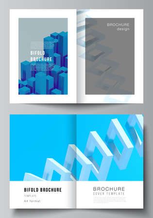 Vector layout of two A4 cover mockups templates for bifold brochure, flyer, magazine, cover design, book design. 3d render vector composition with dynamic realistic geometric blue shapes in motion. Vetores